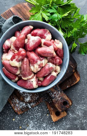 Raw chicken hearts closeup, cooking, stock photo