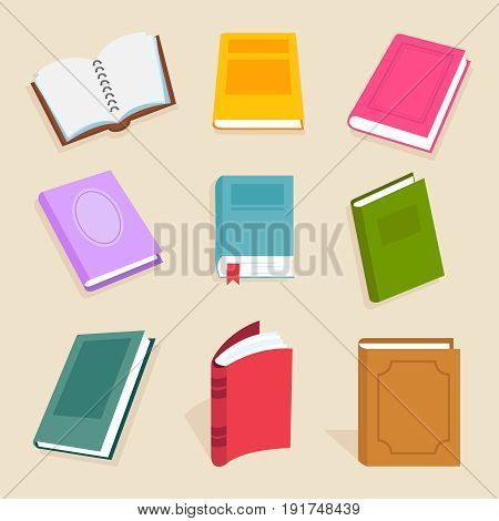 Flat vector books and reading documents. Open science textbook, encyclopedia and dictionary icons. Dictionary and literature textbook for school illustration