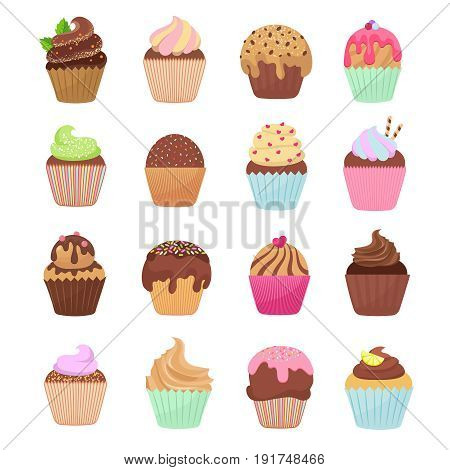 Delicious cupcakes and muffins vector cartoon set. Chocolate birthday dessert cupcake illustration
