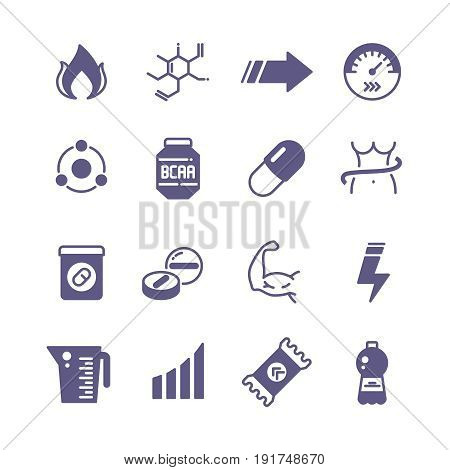 Sport supplements power, protein and vitamin sports nutrition vector icons. Sport nutrition for power, protein and vitamin for fitness illustration