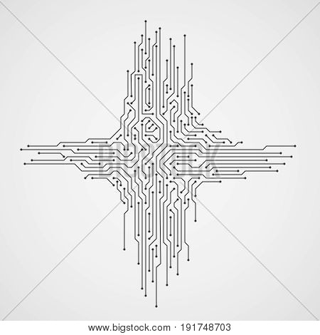 Digital engineering vector concept. Computer technology abstract background with circuit board. Electronic modern connect circuit board illustration