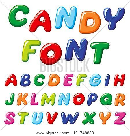 Cartoon candy kids vector font. Rainbow funny alphabet for childrens education
