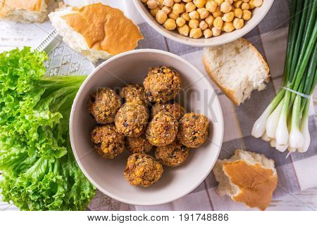 Falafel And Chickpea. Jewish Cuisine. Horizontal View