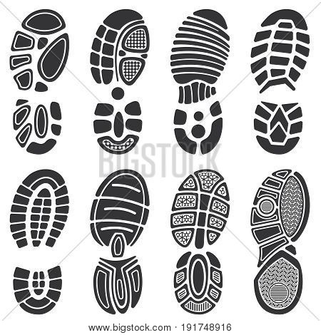 Running sport shoes vector footprint set. Silhouette of sole print, black track shoe illustration