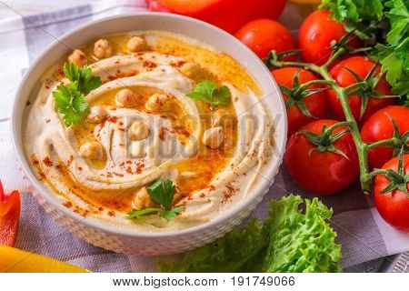 Hummus And Chickpea. Jewish Cuisine. Top View