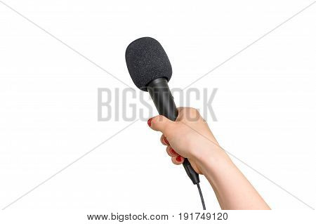Hand Of Reporter With Black Microphone Isolated On White