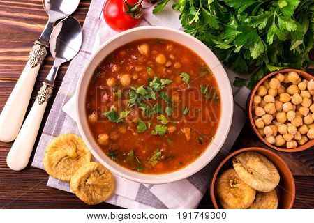 Soup Harira With Figs. Ramadan Food. Traditional Jewish Cuisine