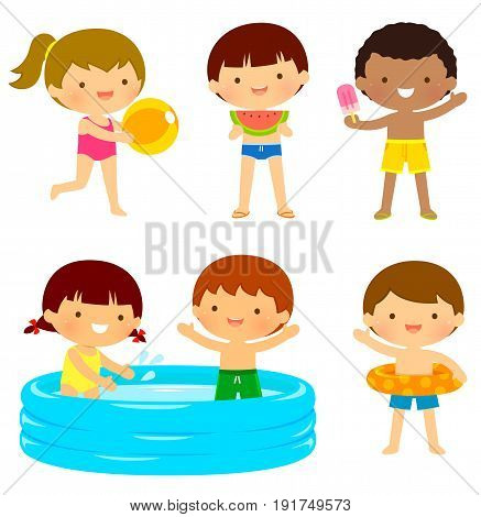 Young kids in swimsuits playing at the beach or the pool