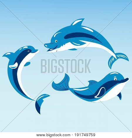 Cute dolphins aquatic marine nature ocean blue mammal sea water wildlife animal vector illustration. Swimming fish underwater beautiful tropical flipper dolphins.