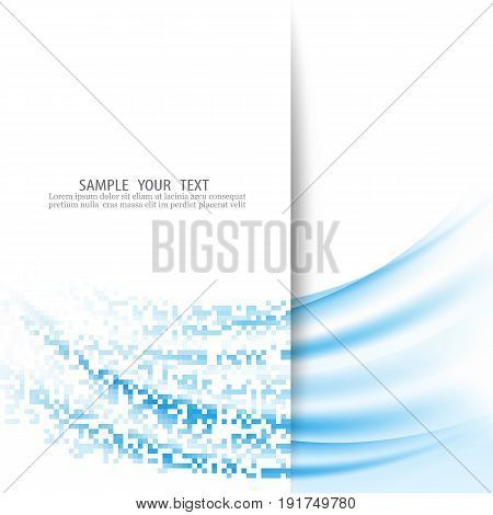 Abstract wave background Blue wave turns into a white and blue rectangles