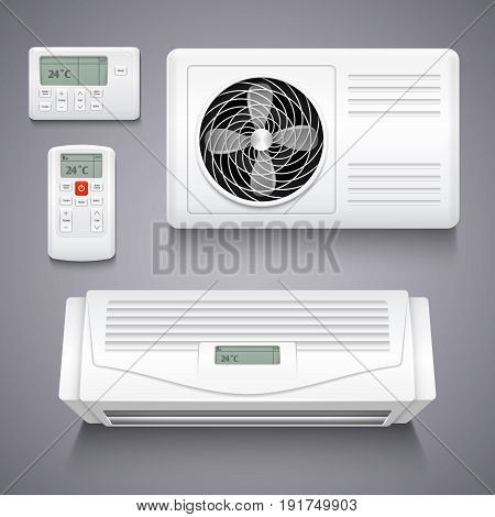 Air conditioner isolated realistic vector illustration. Temperature air conditioner for home, electronic power equipment for climate control