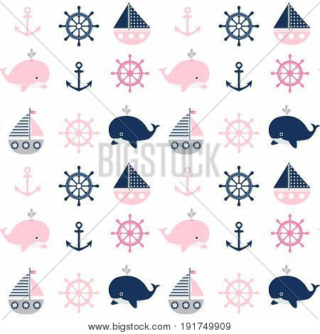 Cute seamless nautical pattern with whales and boats for children clothes greeting cards and baby shower invitations