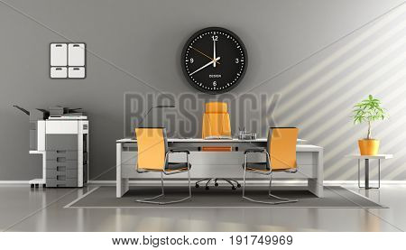 Modern Gray And Orange Office