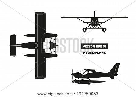 Black silhouette of plane on white background. Cargo aircraft. Industrial drawing of hydroplane. Top, front and side view. Vector illustration