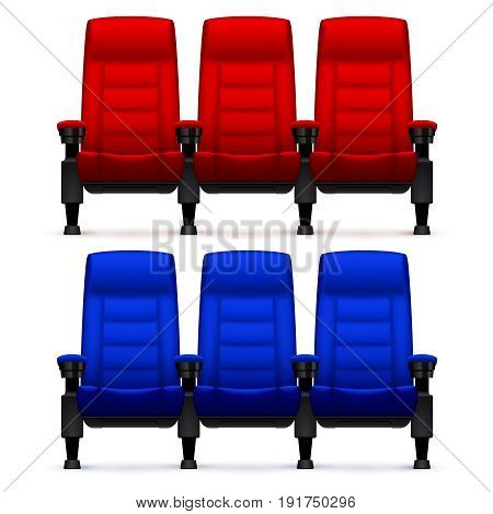 Cinema empty comfortable chairs. Realistic movie seats vector illustration. Empty chair red and blue for seat cinema theater