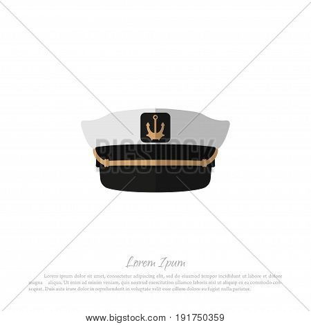Hat of captain on a white background. Icon of sailor cap in flat style. Vector illustration