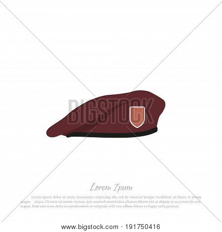 Beret of soldier on a white background. Military hat in a flat style. Vector illustration