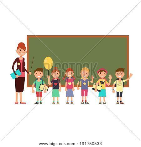 Happy teacher with kids in school. Teaching children vector background. Happy cartoon class with teacher school illustration