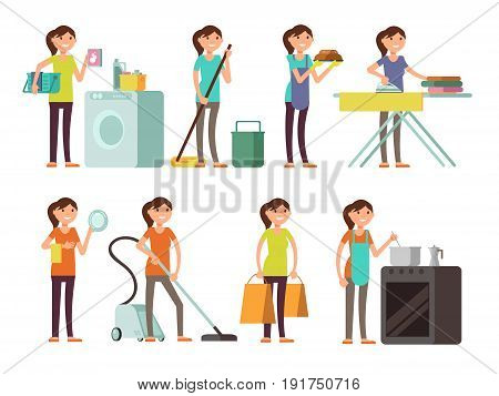 Cartoon housewife in housework activity vector set. Happy woman performing household. Housewife female person illustration