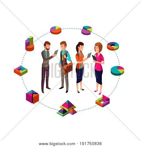 Isometric business analyst vector modern concept with businessman team and 3d charts. Business team people and color chart and graph illustration