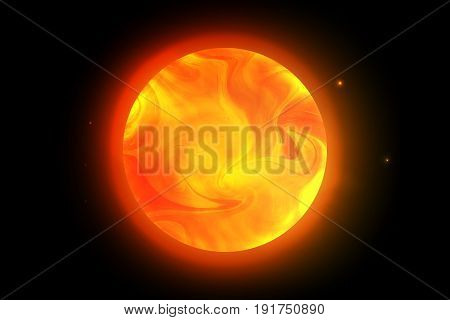 Vector sun planet. Illustration of the red giant with swirling clouds on the black background shining stars
