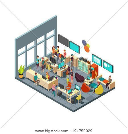Relaxed creative people meeting in room interior. 3d isometric coworking and teamwork vector concept. Teamwork in office room illustration