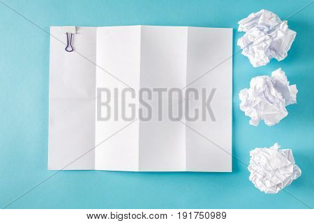 Blank Paper With Crumpled Paper Balls