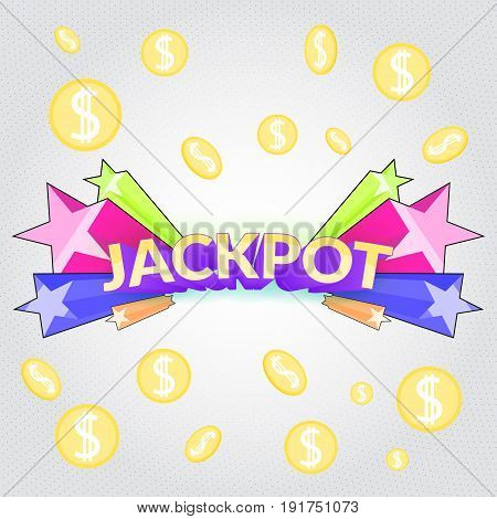 Jackpot casino sign. Cartoon gamble winning symbol with star blast and falling coins money