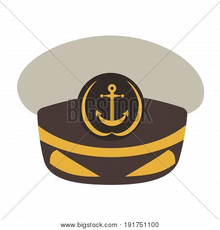 Captain hat. Flat style vector illustration isolated on white background