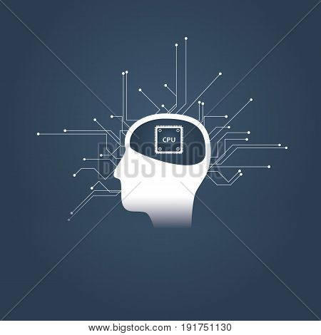 Artificial intelligence or ai concept with human or android head and cpu instead of brain. Future technology symbol of robotization and automatization. Eps10 vector illustration.