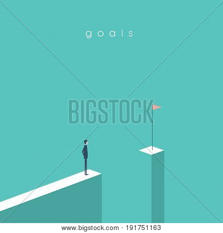Businessman standing in front of gap looking at flag. Business concept of goals, success, achievement and challenge. Eps10 vector illustration.