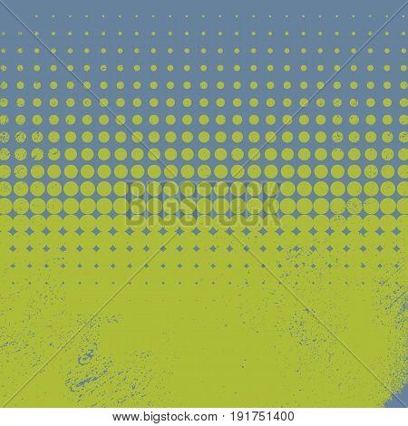 Halftone vintage vector background with green and blue color, worn, grunge, old edges. Eps10 vector illustration.