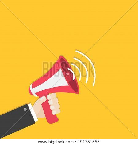 Businessman hand holding megaphone speaker loudspeaker icon. Announcement sign symbol. Flat design. Red color. Left corner template. White background. Isolated. Vector illustration