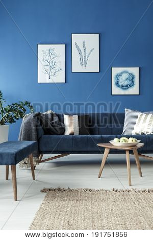 Vintage sofa and minimalist end table in modern blue room