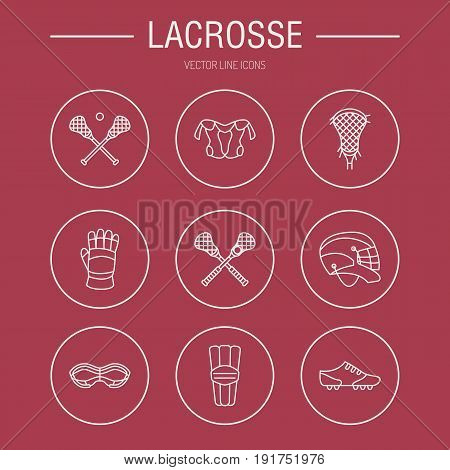 Lacrosse sport game vector line icons. Ball, stick, helmet, gloves, girls goggles. Linear signs set, championship pictograms with editable stroke for event, equipment store.