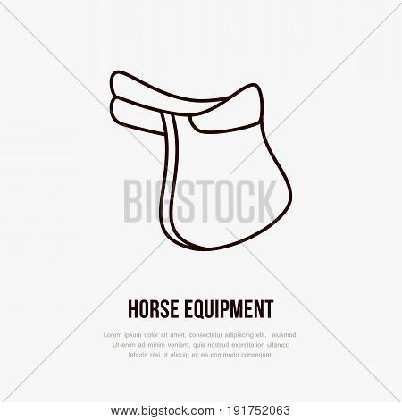 Horse saddle, polo flat line icons. Vector illustration of horses sport game, equestrian equipment.