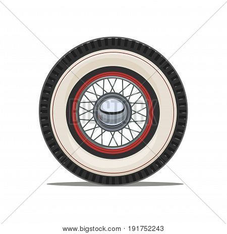 Vintage car wheel with spoke, isolated white background. Vector illustration.