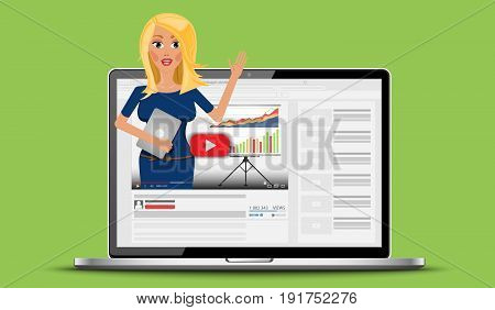 Internet video with business woman blogger about finance coaching. Webinar and vlog on laptop. Flat Vector Illustration