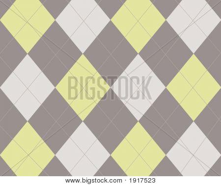 Grey White Yellow Argyle Design