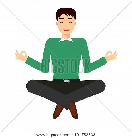 Yoga smiling young man in lotus meditative pose. Man meditating and relaxing.