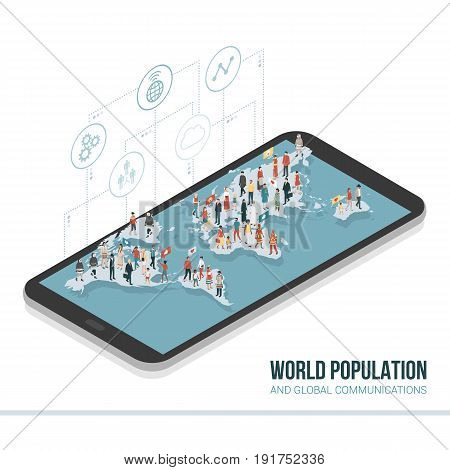 People from all over the world connecting together on a smartphone: global communication sharing and technology concept