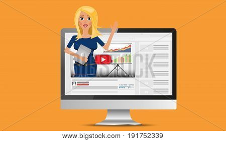 Vector flat illustration of webinar, online conference, lectures and training in internet. Video blogger concept
