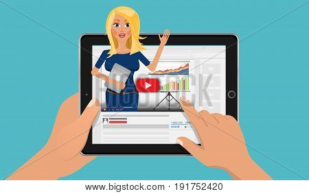 Online business education with influence video blogger. Finance webinar and coaching training in your tablet pc. Flat Vector Illustration