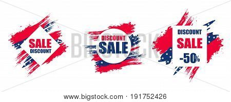 Colorful modern frame for sale to the USA independence Day on 4 July. Set. Dynamic design elements. Vector illustration.