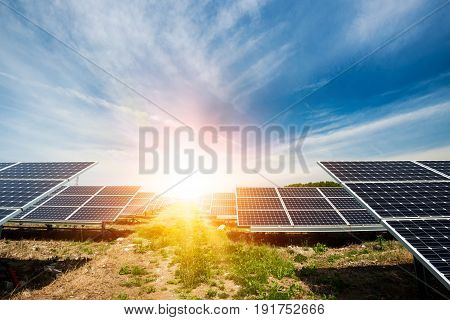 Solar panel photovoltaic alternative electricity source - concept of sustainable resources