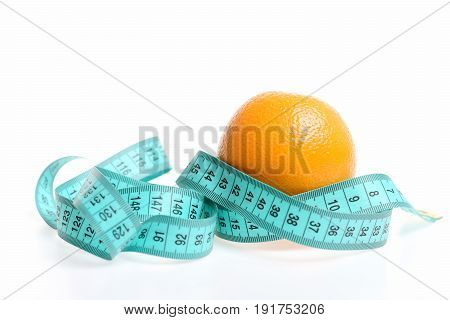 Concept Of Healthy Diet Food With Orange And Measuring Tape