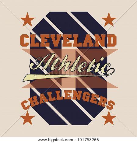 T-shirt cleveland atletics Typography Fashion challengers sport design