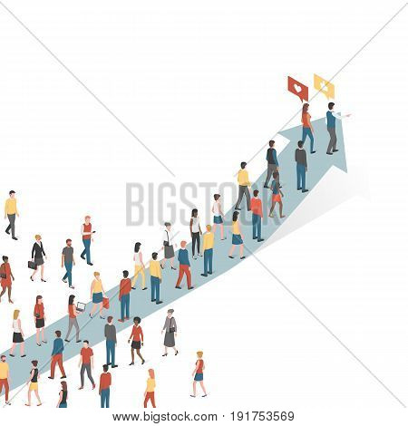 Group of people following an arrow marketing and leadership concept