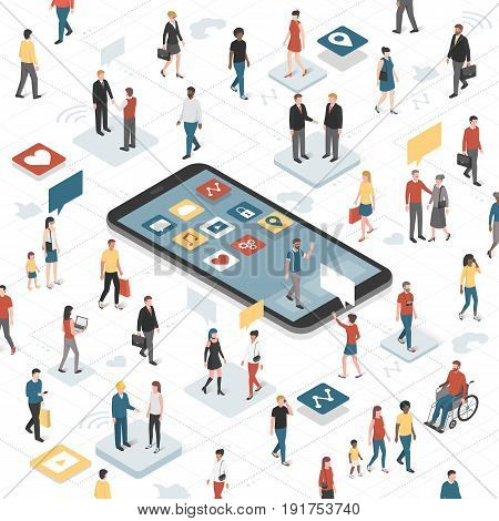 People connecting together through social media and smartphone with apps: communication technology diversity and accessibility concept
