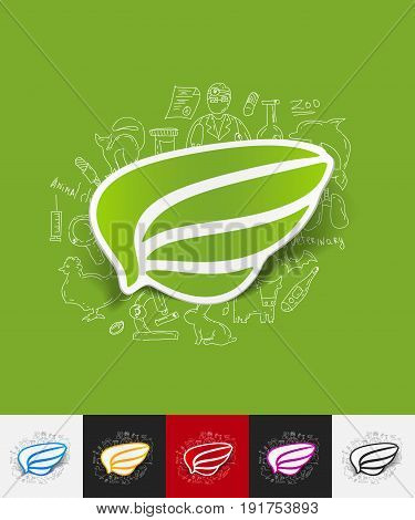 hand drawn simple elements with wing paper sticker shadow